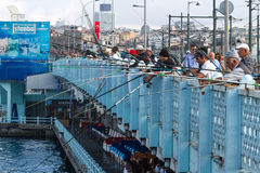 Fishermen in Istanbul Stock Image