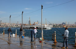 Fishermen in Istanbul, Turkey Stock Photo