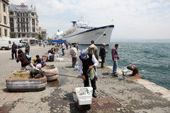 Fishermen in Istanbul, Turkey Stock Photography