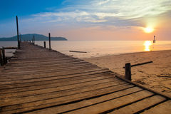 A fishermen jetty with sunset. At Tanjung Dawai, Kedah in Malaysia Stock Images