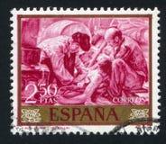Fishermen by Joaquin Sorolla. SPAIN - CIRCA 1964: stamp printed by Spain, shows Fishermen by Joaquin Sorolla, circa 1964 Royalty Free Stock Photography