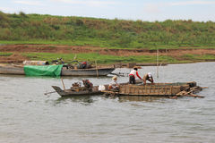 Fishermen in Kampong Cham Royalty Free Stock Photo