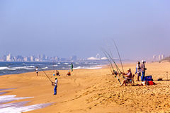 Fishermen on La Lucia Beach in Durban South Africa Stock Images