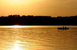 Fishermen on a Lake. royalty free stock images