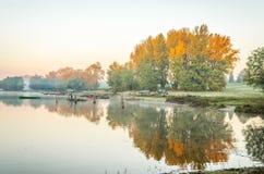 Fishermen in the lake. Novi Sad, Srbija - Oktober 17, 2017: fishermen in the lake royalty free stock image