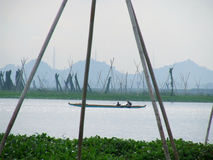 Fishermen on lake Tempe on Sulawesi Royalty Free Stock Photo
