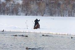 Fishermen on the lake Royalty Free Stock Photo