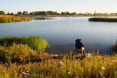 The fishermen lakeside Stock Image