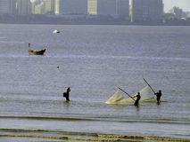 Fishermen lifting net at sea Stock Photography
