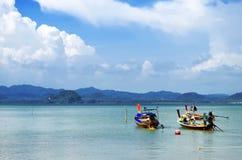 Fishermen long tail boats at Mook island. Fishermen long tail boats at Koh Muk in the Andaman Sea, Trang province, Thailand royalty free stock image