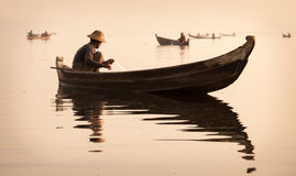 Fishermen in Mandalay, Myanmar Royalty Free Stock Photos
