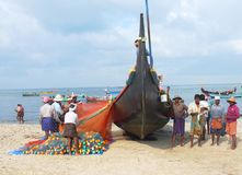 Fishermen, Marari Beach, Kerala India Royalty Free Stock Photos