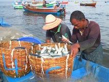 Fishermen, Marari Beach, Kerala India Stock Photos