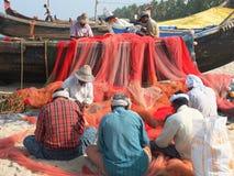 Fishermen, Marari Beach, Kerala India Royalty Free Stock Images