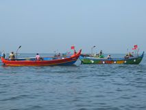 Fishermen, Marari Beach, Kerala India Royalty Free Stock Images