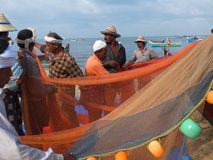 Fishermen, Marari Beach, Kerala India Royalty Free Stock Photo