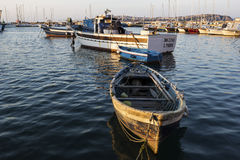 Fishermen in Marina della Corricella in Procida, Italy Royalty Free Stock Photos