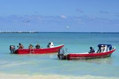 Fishermen on Mexican coast, Playa del Carmen stock image