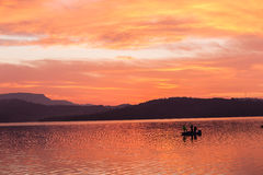 Fishermen Morning Colors Boat Dam Stock Photo