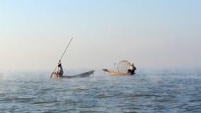 Fishermen in Myanmar Royalty Free Stock Photography
