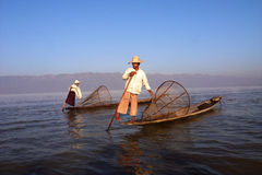 Fishermen in Myanmar Royalty Free Stock Photo