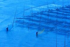 Fishermen near the seaweed farm stock image
