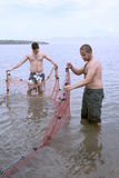 Fishermen with net royalty free stock images