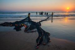 Fishermen Nets Beach Sunrise Royalty Free Stock Images