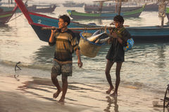 Fishermen - Ngapali Beach - Myanmar (Burma) Royalty Free Stock Images