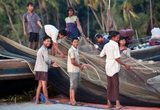 Fishermen from Ngapali, Burma Stock Photography