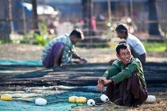 Fishermen from Ngapali, Myanmar Royalty Free Stock Image