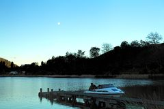 Fishermen Night Time Lake Stock Photo