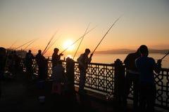 Fishermen On Galata Bridge Royalty Free Stock Images