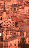 Fishermen over the Bosphprus. Fishermen over the Bosphorus, Istanbul, Turkey, golden hour. Minaret in background Royalty Free Stock Photography
