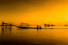 Fishermen at Pakpra, Phatthalung in southern Thailand Royalty Free Stock Images