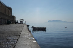 Fishermen in Palermo. Selling their catches on the city docks before the daily market opens royalty free stock photo