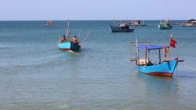 Fishermen at Phu Quoc island, Kien Giang province, Vietnam stock video footage