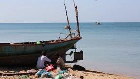 Fishermen at Phu Quoc island, Kien Giang province, Vietnam. Fisherman on beach , Ham Ninh village, Phu Quoc island, Kien Giang province, Vietnam. Phu Quoc is stock footage
