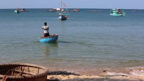 Fishermen at Phu Quoc island, Kien Giang province, Vietnam stock footage