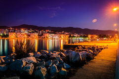 Fishermen Pier On Seaside Town At Night Stock Photos