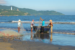 Fishermen are placed in the network in the boat before going for fishing. Vietnam Royalty Free Stock Images