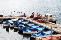 Fishermen port Stock Images