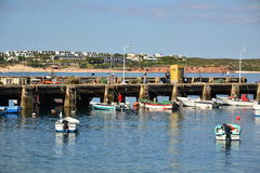 Fishermen at the port, Bordeira, Algarve, Portugal Royalty Free Stock Images