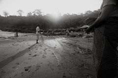 Fishermen preparing nets. Indonesian fishermen prepare fishing nets for fishing.The village of Lamalera on the Indonesian island of Lembata is the last place on royalty free stock images