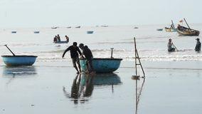 Fishermen are pulling the basket boat at Long Hai stock video footage