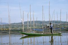 Fishermen on Rawa Pening Lake, Central Java, Indonesia royalty free stock photos