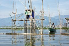 Fishermen on Rawa Pening Lake, Central Java, Indonesia stock image
