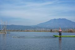 Fishermen on Rawa Pening Lake, Central Java, Indonesia stock photo