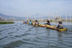 Fishermen on Rawa Pening Lake, Central Java, Indonesia. Ambarawa, Indonesia. Fishermen on Rawa Pening Lake, Central Java, Indonesia royalty free stock photography