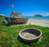 Fishermen repairing boats in vietnam Royalty Free Stock Photography